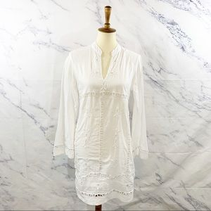 Lucky White Embroidered Long Sleeve Tunic